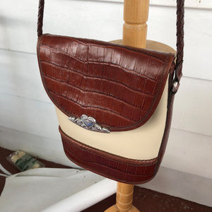 Brighton Cream Brown Croc Embossed Crossbody Bag